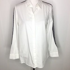 Zara trf White Blouse with Embroidery on Sleeve S